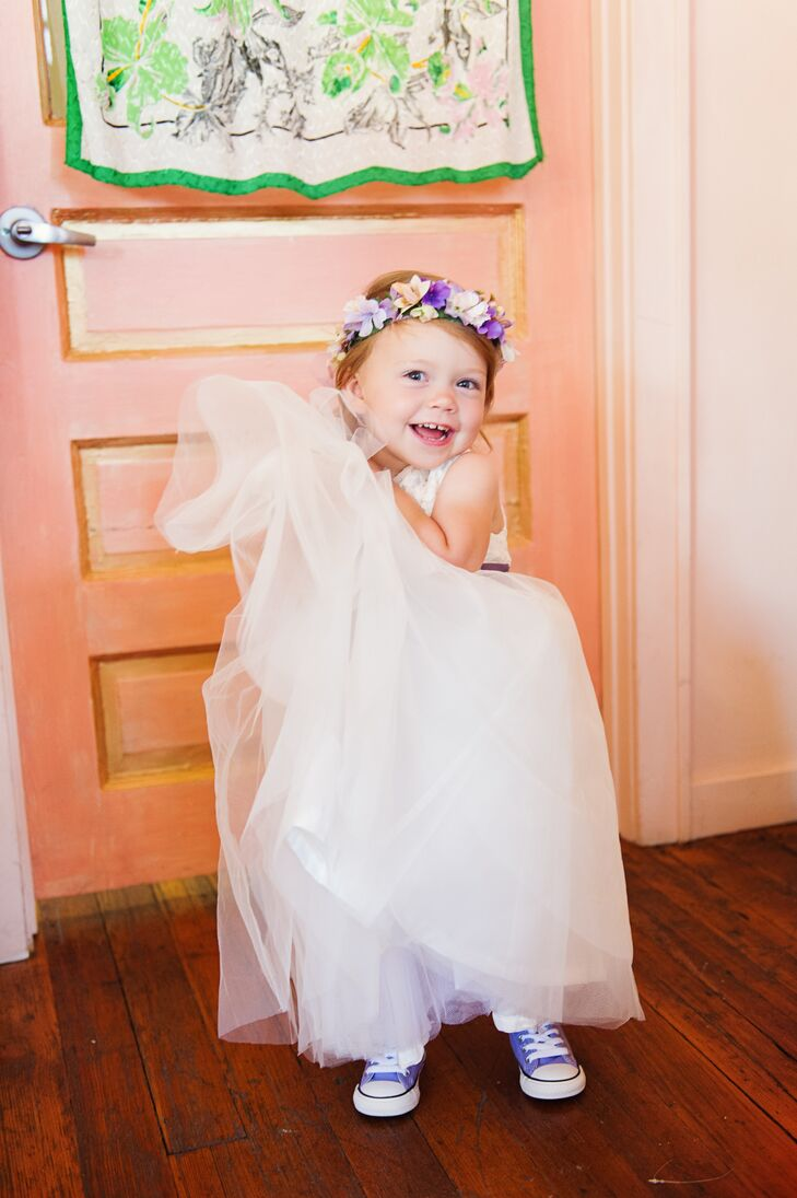 White Flower Girl Dress With Purple Chucks