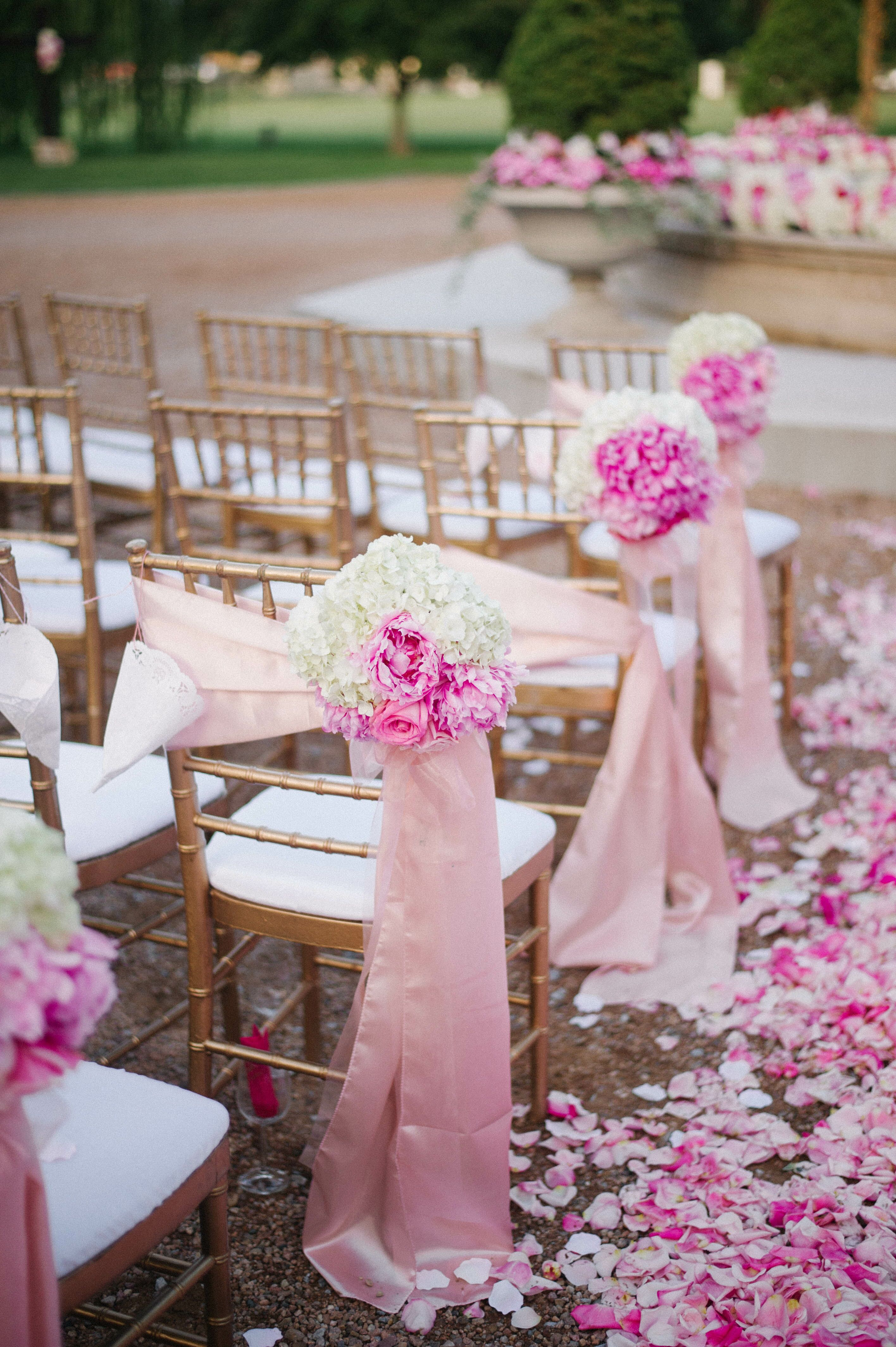 Pink Flower Chair And Aisle Decorations