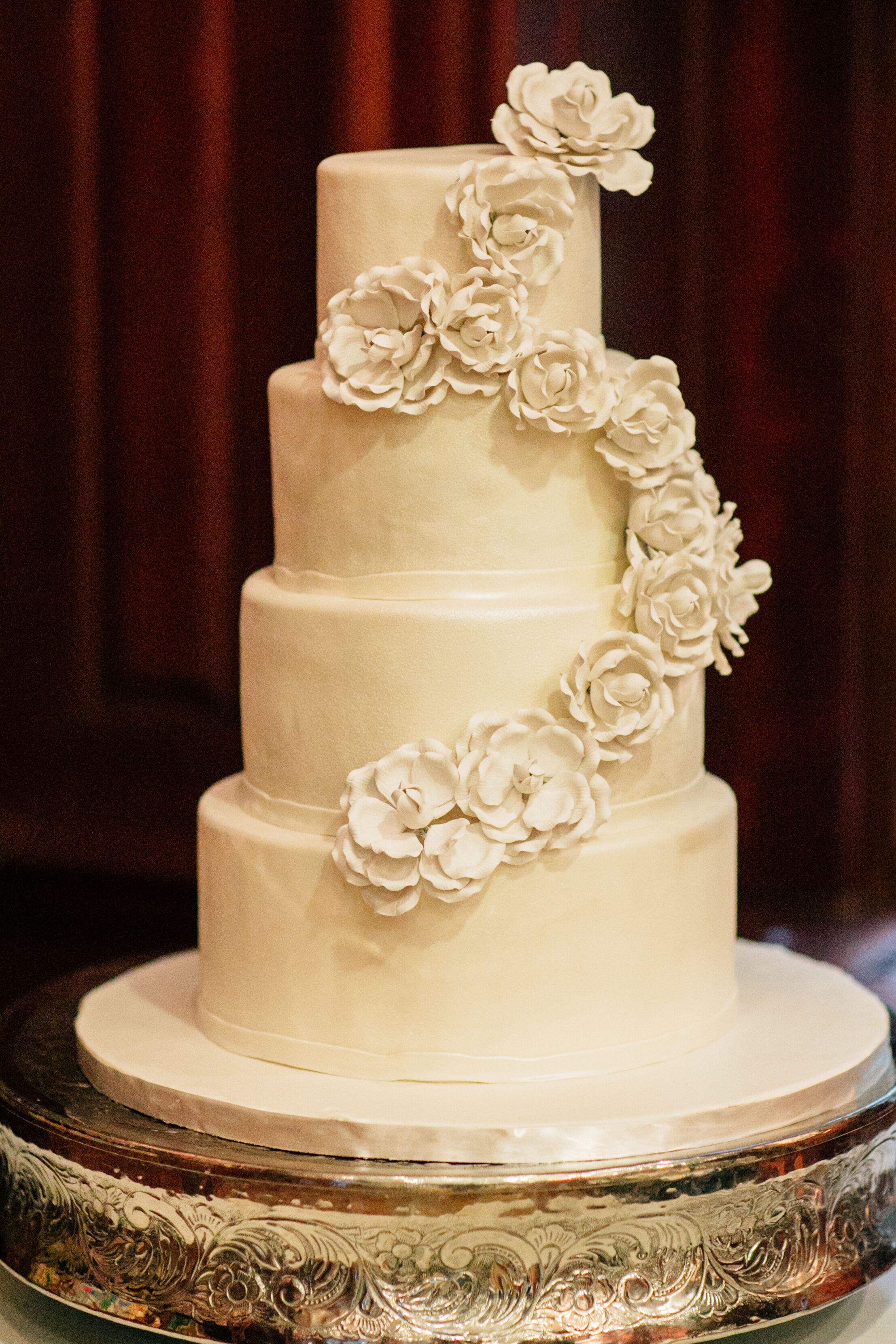 Ivory Wedding Cake With Floral Accents