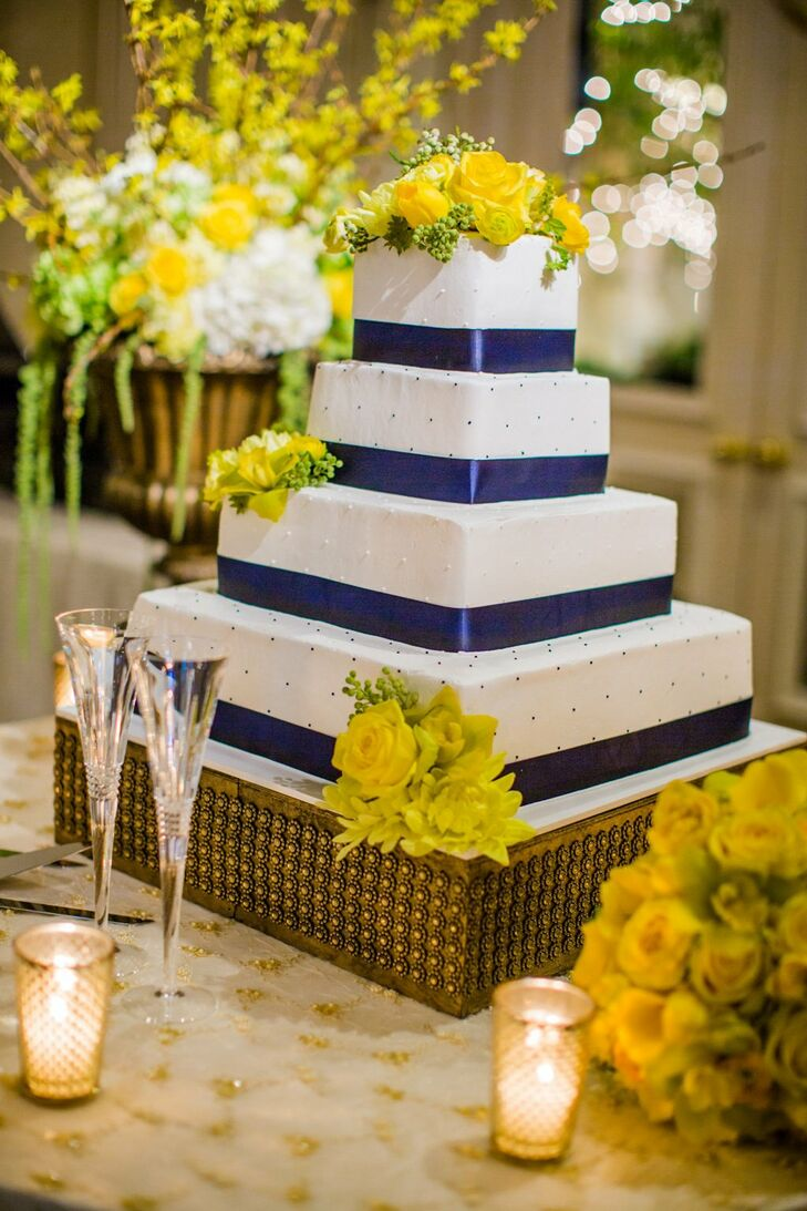wedding cakes navy blue and yellow blue and yellow square cake 25069