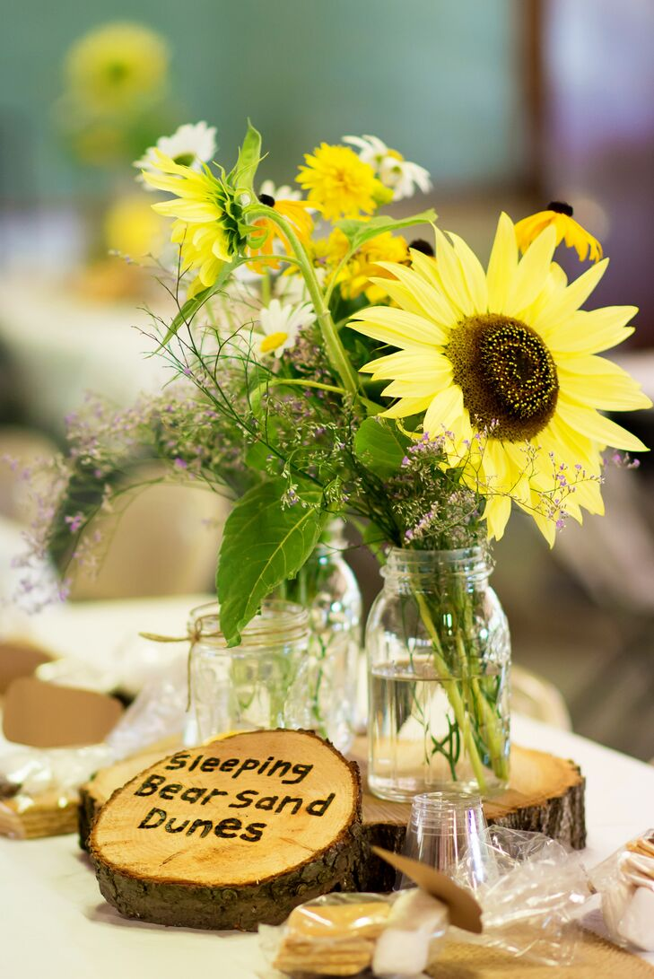 Sunflower Centerpiece In Mason Jar