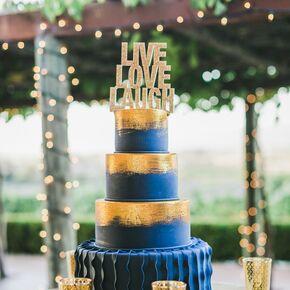 Gold And Blue Fondant Wedding Cake