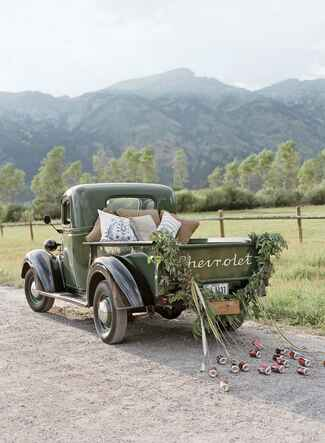 chevrolet pickup truck wedding exit