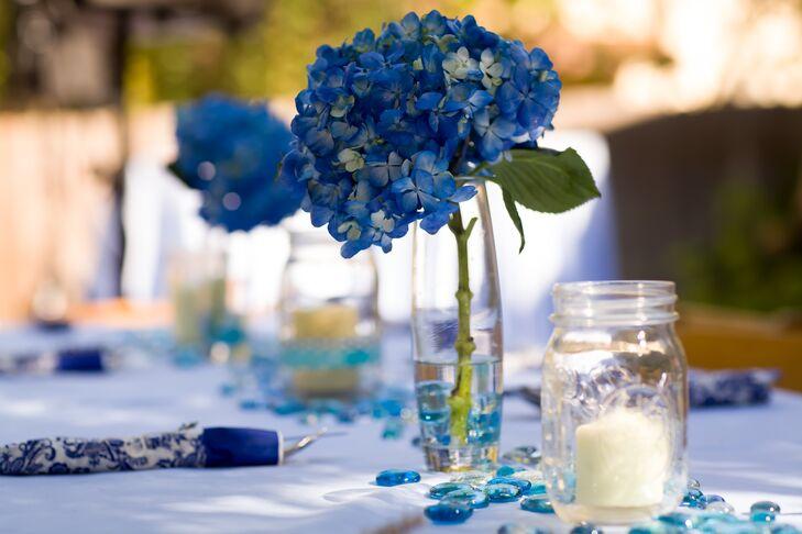 Diy blue hydrangea centerpieces