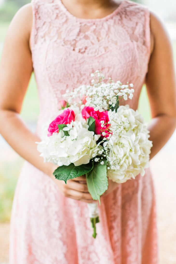"Sophia's mother and aunts made all the bridesmaid bouquets. ""They turned out so well,"" Sophia says of the hydrangea, baby's breath and rose arrangements."