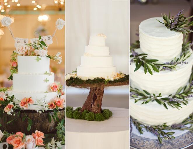 Woodland natural wedding cake trend