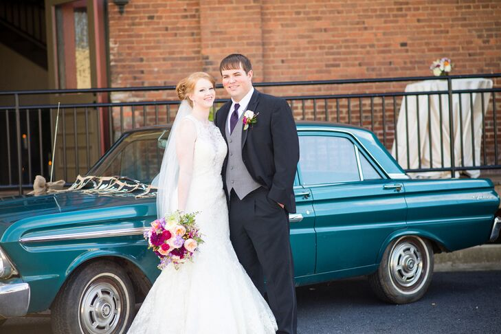 Emily and Russ's guests sent them off in a fragrant shower of lavender as their reception came to a close. They rode away to their honeymoon in Emily's grandfather's 1965 Ford Falcon.