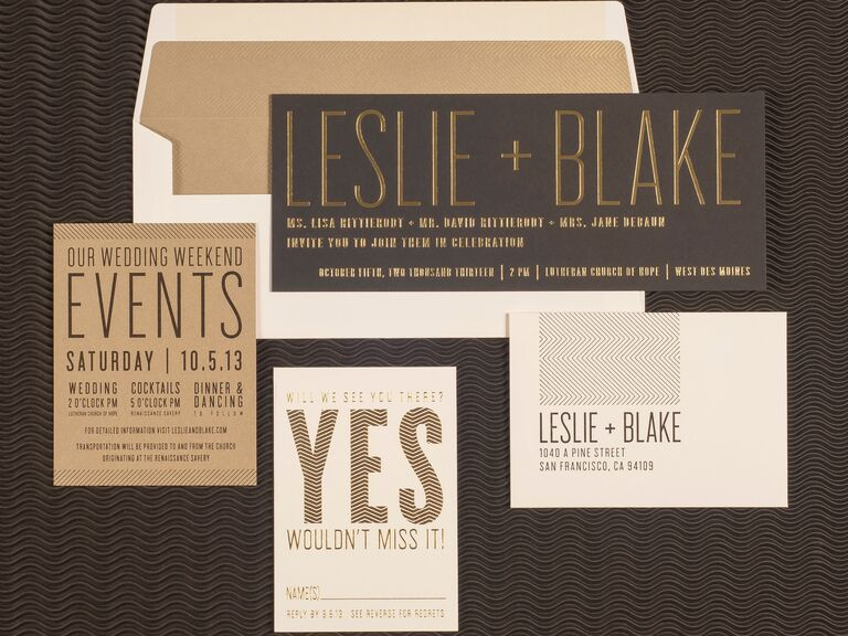 8 hot wedding invitation trends spark gold letterpress wedding invitation stopboris Image collections