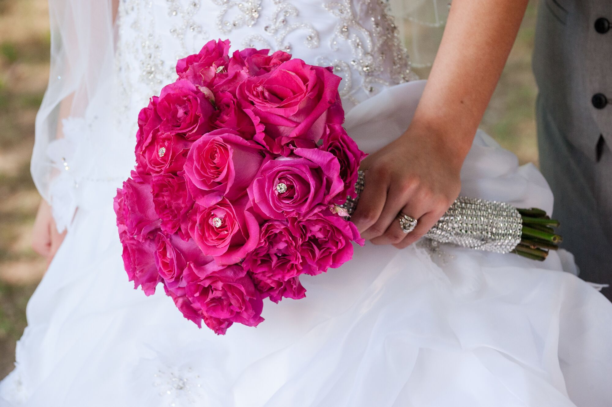 Fuchsia Rose Bouquet With Crystal Centers
