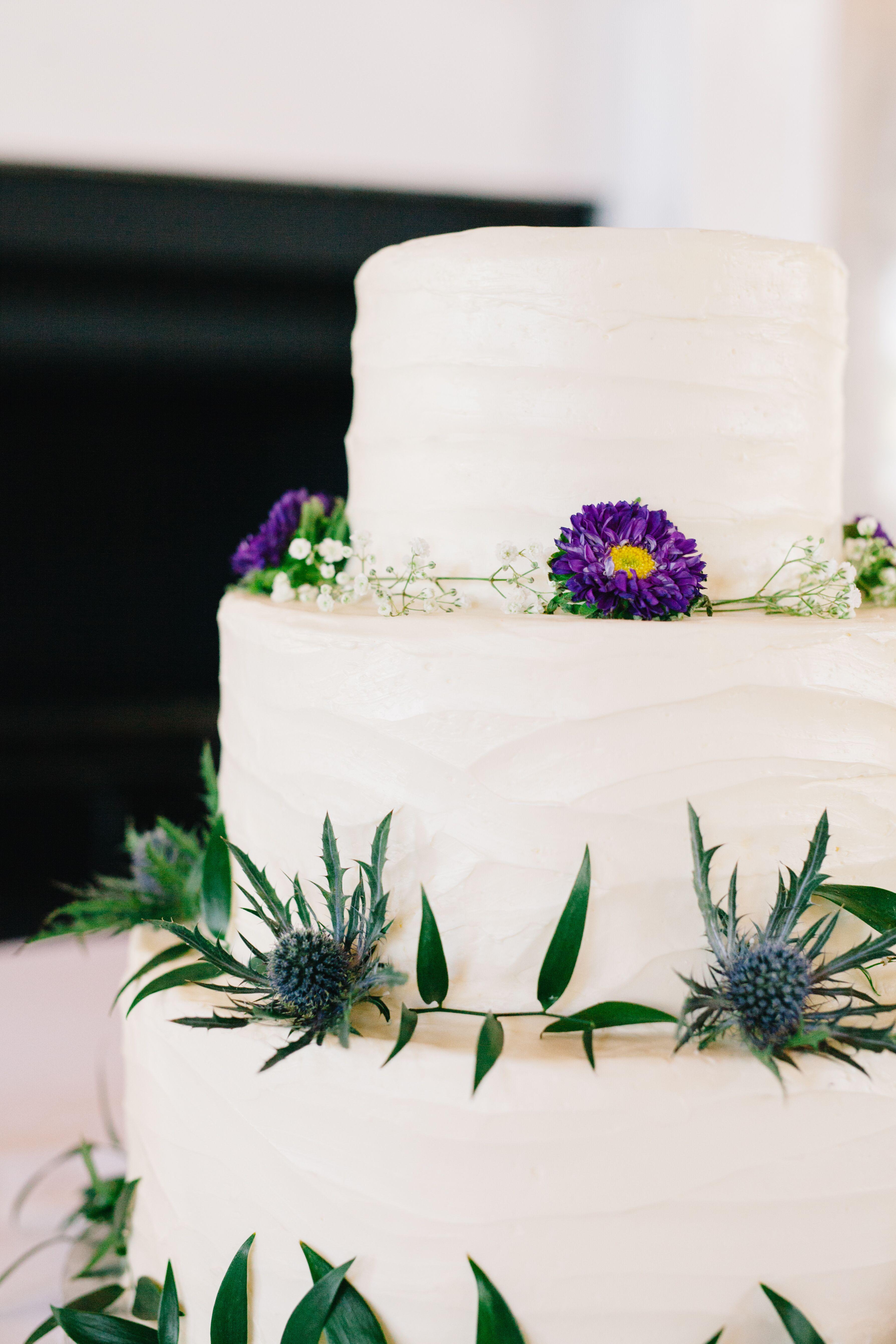 Blue Thistle Decorated Buttercream Wedding Cake