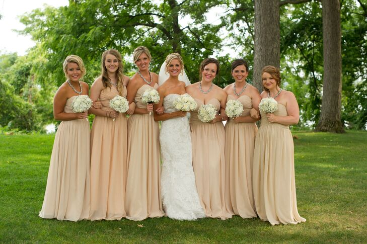 Real Bridesmaids In Beige Bridesmaid Dresses: Long, Tan Strapless Bridesmaid Dresses