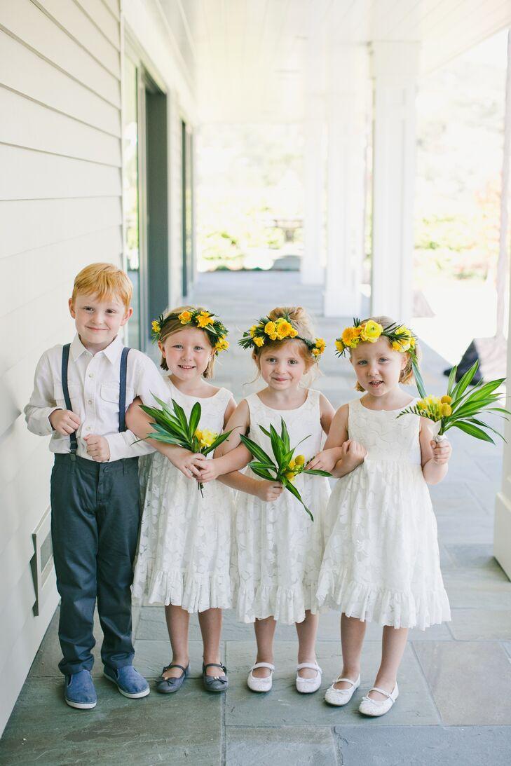Modern Backyard Wedding Attendants In Yellow And White