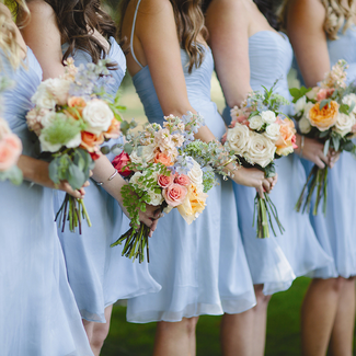 Bridesmaids lined up at altar