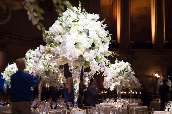 The Elegant Tall White Rose And Hydrangea Centerpieces At Gotham Hall