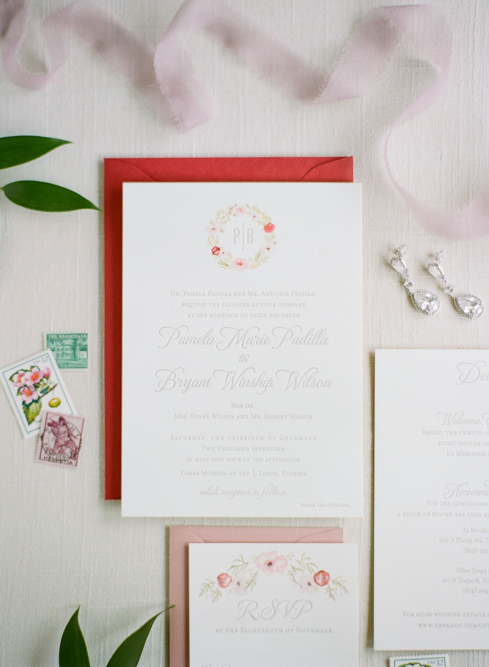 Classic Invitation Suite With Preppy Crest And Red Envelope
