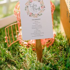 Whimsical Calligraphy Monogram Ceremony Program Fans