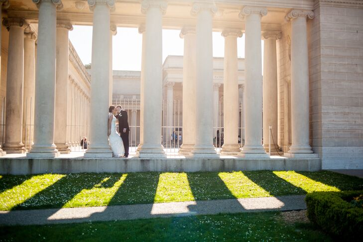 Couple Against Ivory Elegant Columns