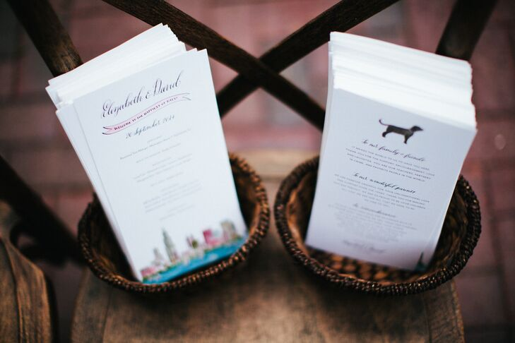 Paper Plane Paperie created these unique wedding programs with all calligraphy by Holly Hollon. (The couple even made sure to include their pup, Webster, in the details!)