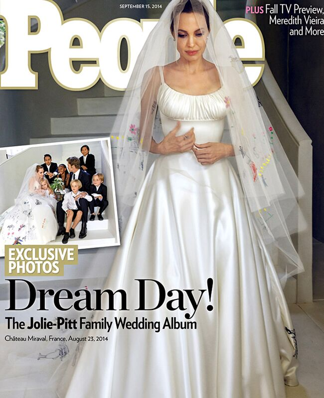 Angelina Jolie\'s Wedding Dress and Veil Features Pictures Drawn by ...