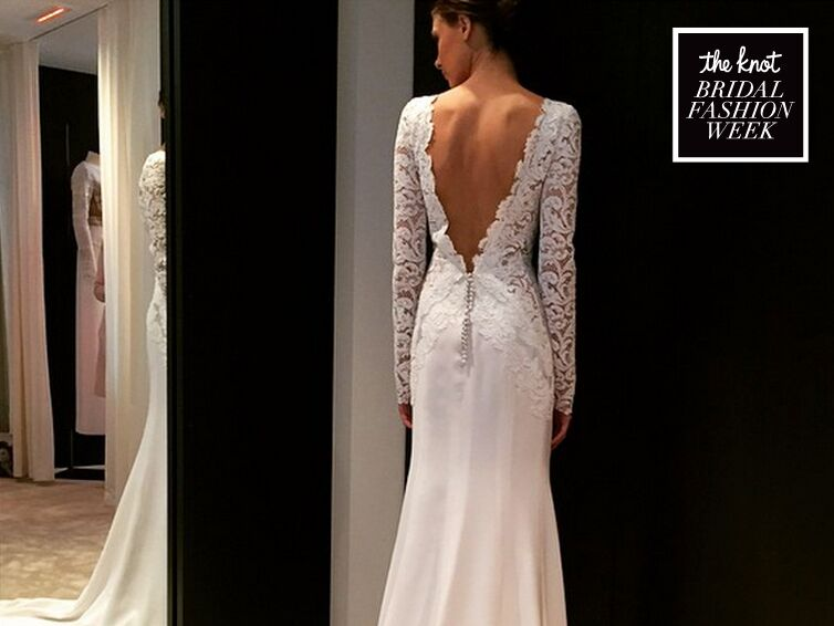 The Knot's Instagram coverage during Bridal Fashion Week includes a J. Mendel wedding dress.