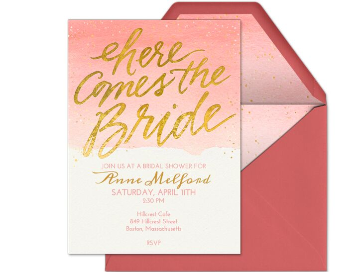 5 online invitation vendors we love here comes the bride bridal shower digital invitation stopboris Choice Image