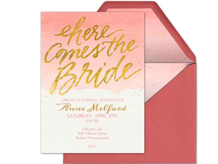 Here comes the bride bridal shower digital invitation