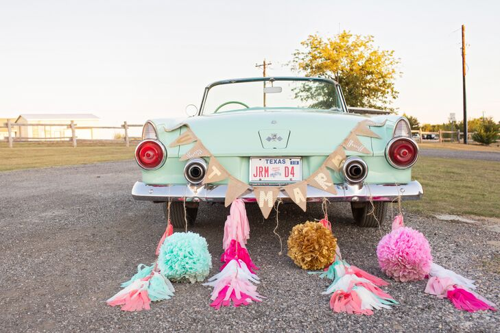 Retro Mint Getaway Car with Tassels
