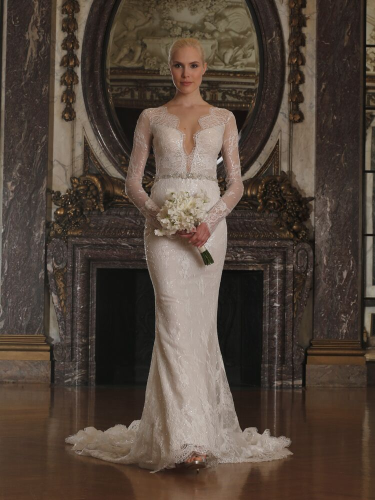 Romona Keveza Fitted Wedding Dress With V Neckline And Illusion Sleeves