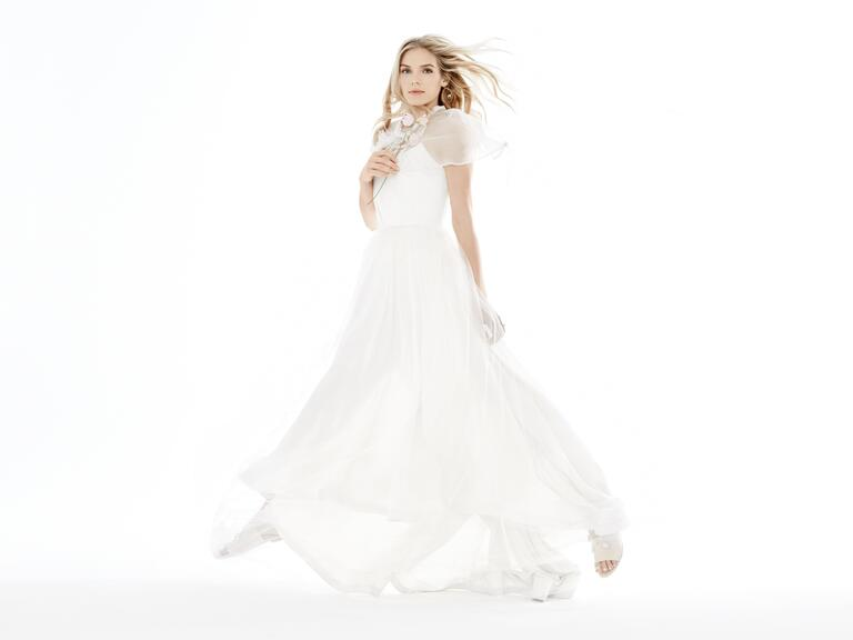 Tara LaTour wedding dress with a Leah C capelet