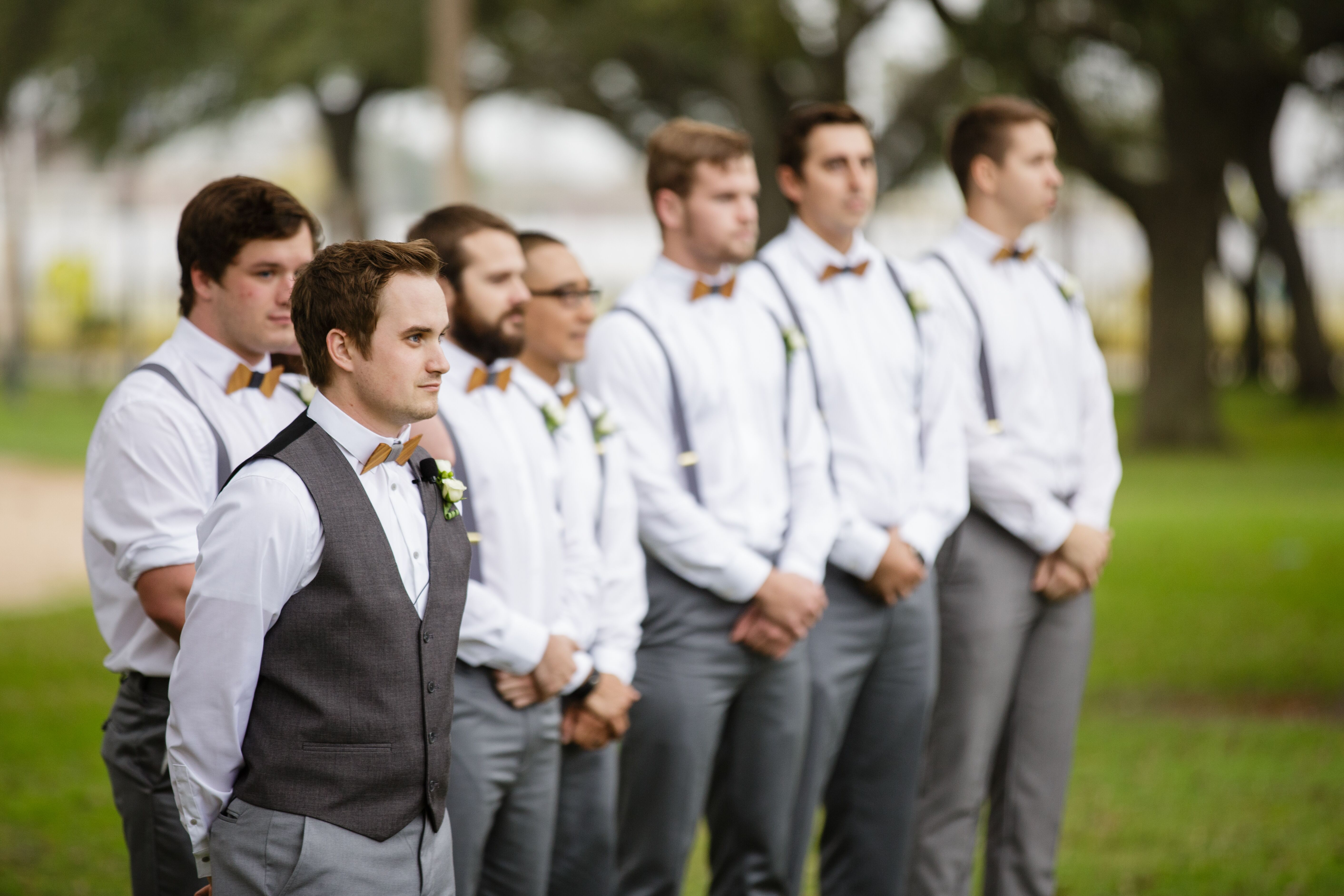 Casual Groomsmen Attire Wooden Bow Ties