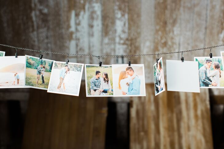 At the reception at Reinstein Ranch in Livermore, California, photos of the newlyweds were hung on a string that spanned the barn.