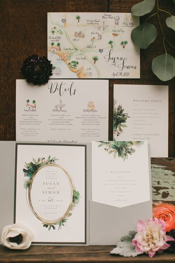 Elegant Watercolor Wedding Invitations with Custom Map