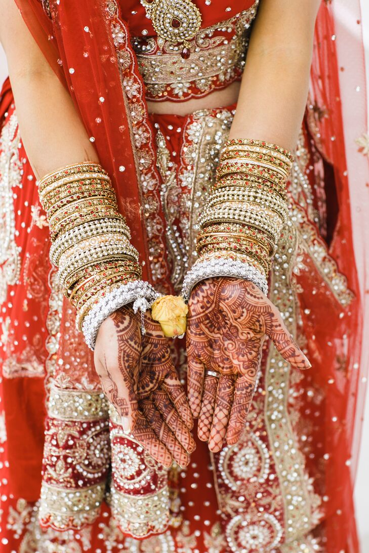 Traditional Henna Hand Decoration With Bangles