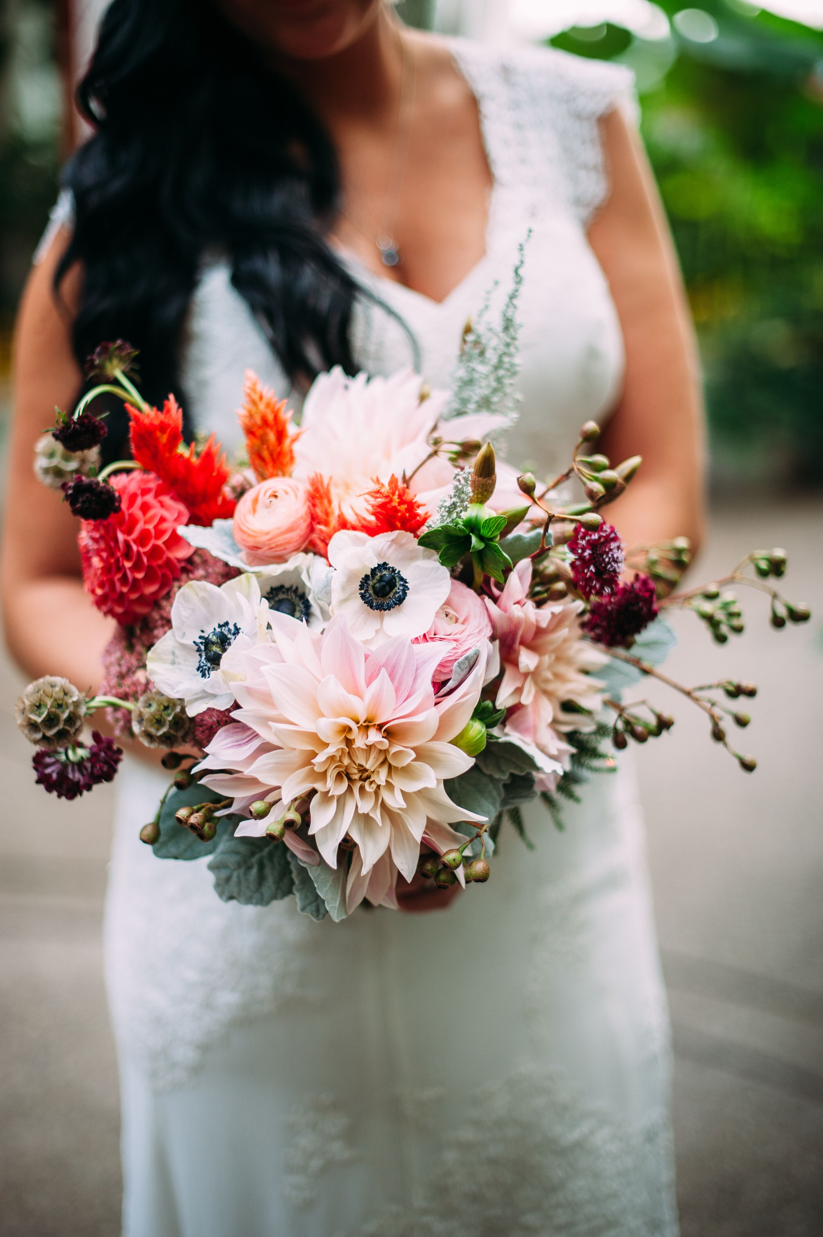 Bride With Colorful Flower Bouquet