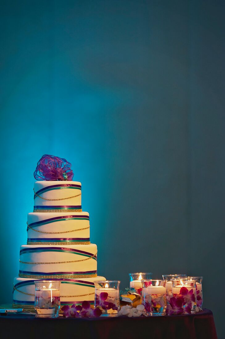 Tiered Purple, Gold and Teal Wedding Cake