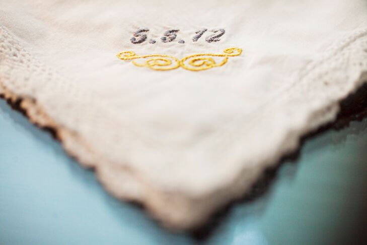 Courtney and Kevin got married on her parents' anniversary. To commemorate the day, Courtney gifted them with these custom-embroidered handkerchiefs.