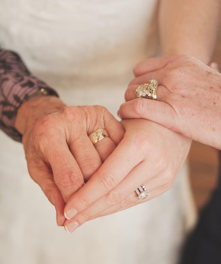 Bride, mom and grandma wedding rings