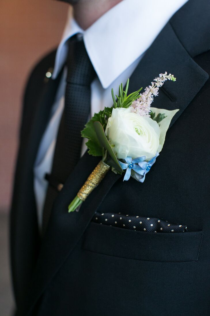 Simple White Ranunculus Groom's Boutonniere