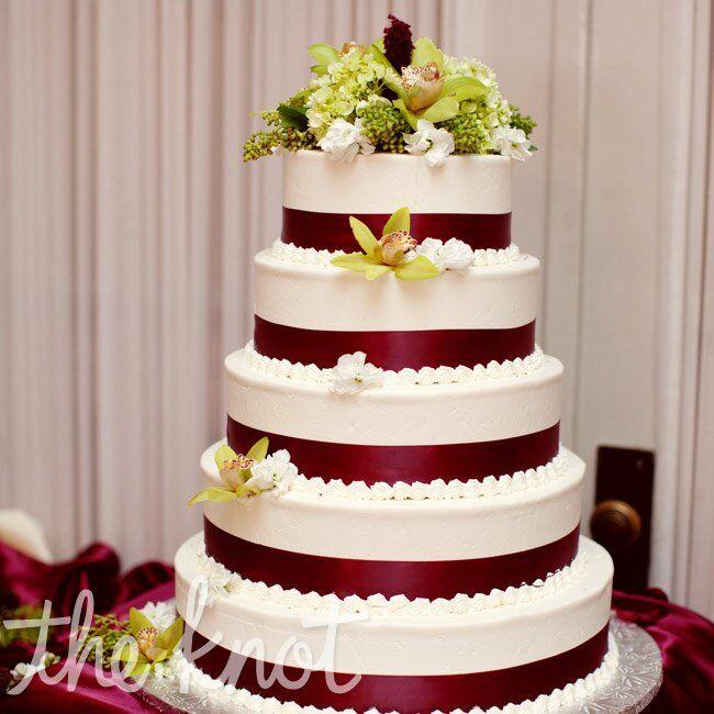 Burgundy Ribbon Cake
