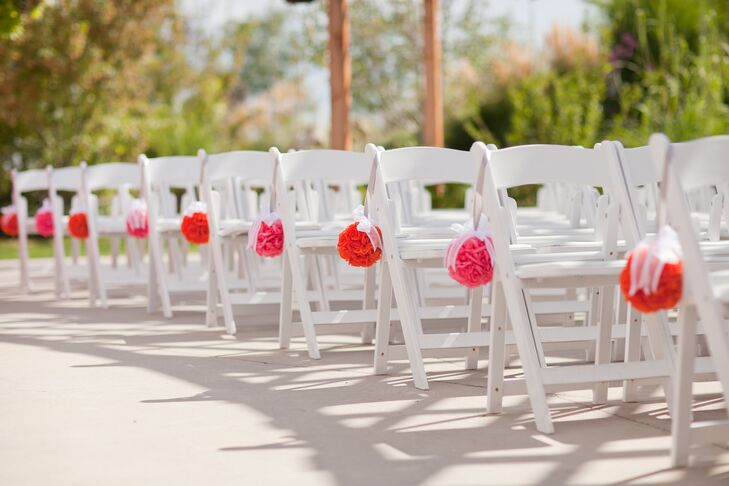 Pink Rose Pomander Aisle Decor