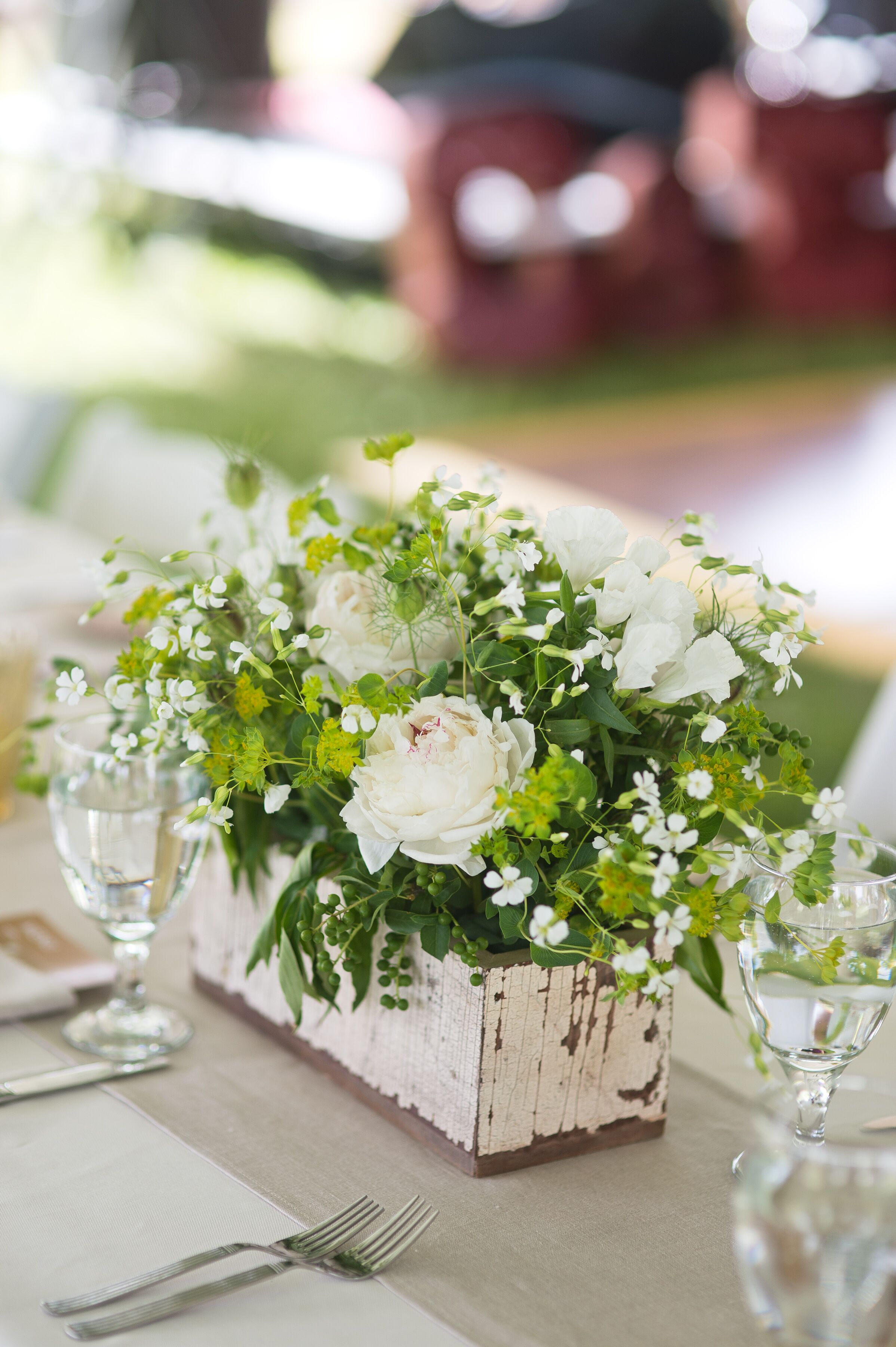 Rustic white and green centerpieces