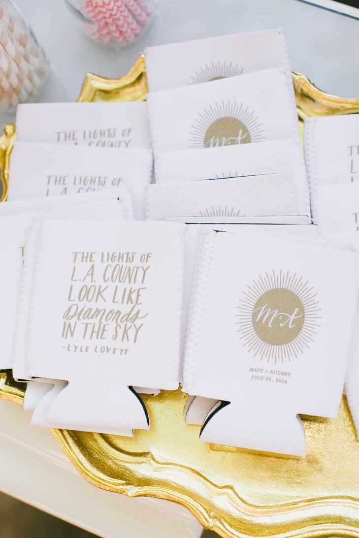White and Gold Koozie Favors