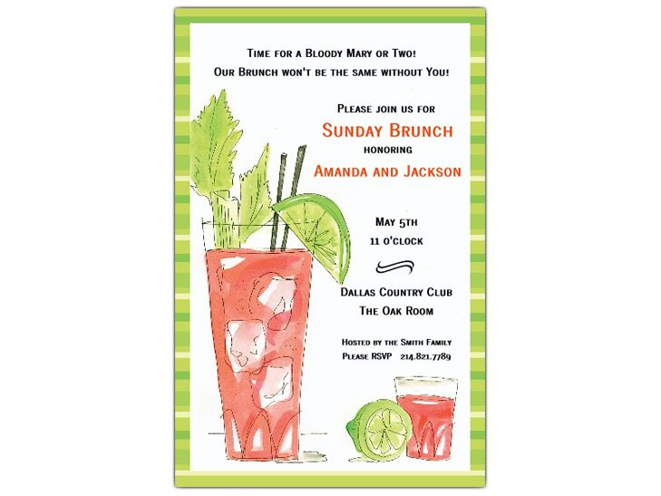 Paper Style Bloody Mary Post Wedding Brunch Invitations