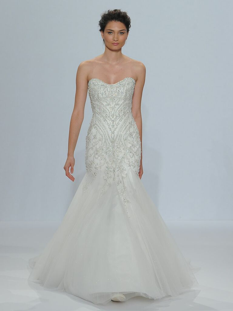 Randy fenoli spring 2018 collection bridal fashion week photos randy fenoli spring 2018 strapless sweetheart heavily beaded mermaid wedding dress with sparkling tulle godet ombrellifo Choice Image