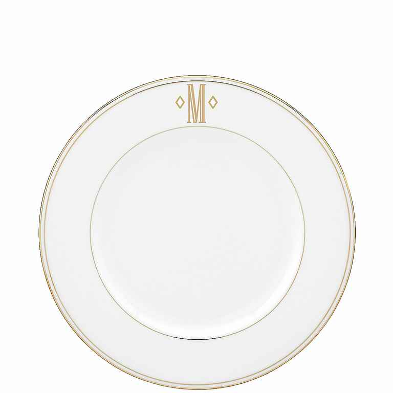 Lenox federal gold monogram block accent plate