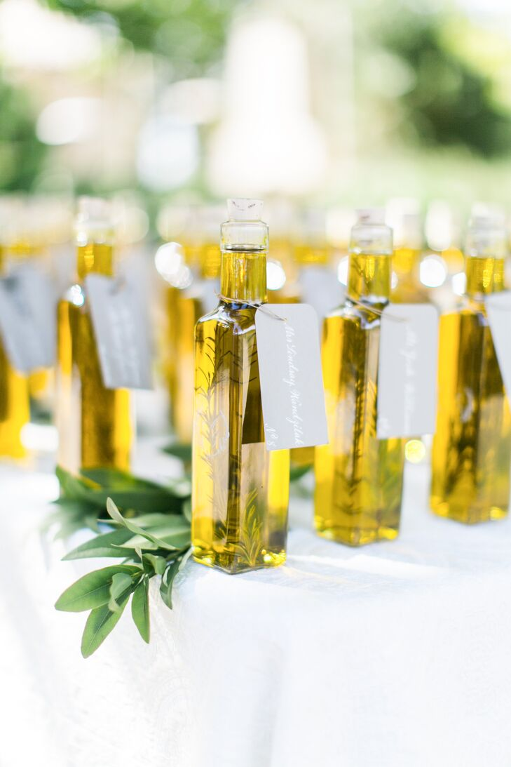 Olive Oil Favors And Escort Cards