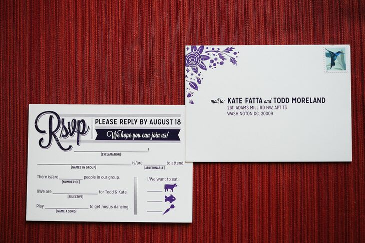 As part of the Mad Libs RSVP cards, guests could suggest songs they wanted to dance to at Kate and Todd's reception.