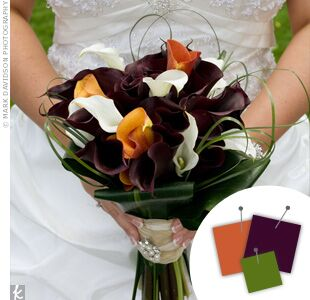 Wedding Color Combo Orange Black Turquoise Dark Purple Calla Lily Bouquet