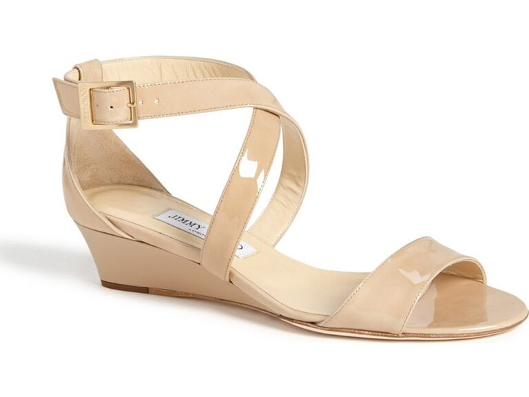 Jimmy Choo Chiara Nude Wedding Wedges