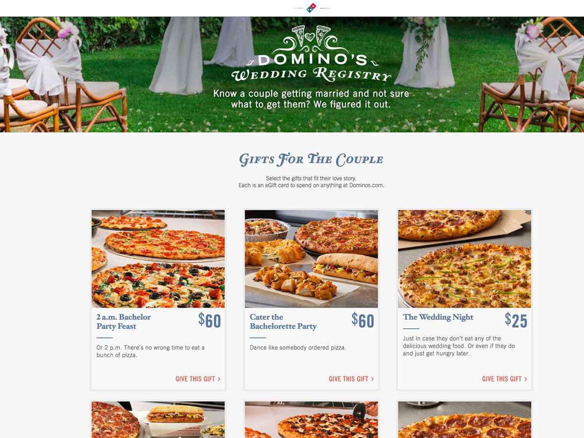 Dominos Launches Their Very Own Wedding Gift Registry Service forecast